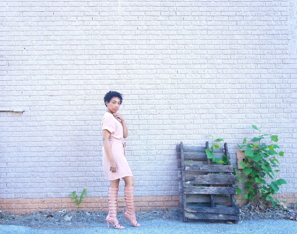 Andrea Fenise Memphis Fashion Blogger styles a wrap dress by Tobi