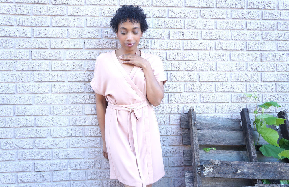 Andrea Fenise Memphis Fashion Blogger styles a blush wrap dress