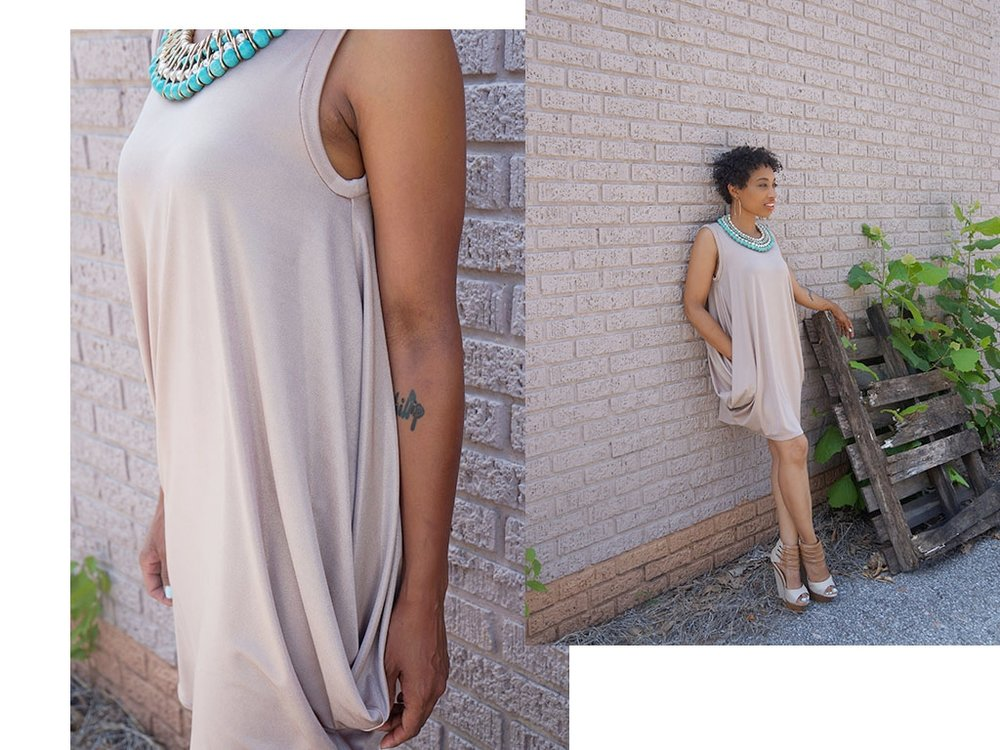 Andrea Fenise Memphis Fashion Blogger styles a gold metallic dress for spring