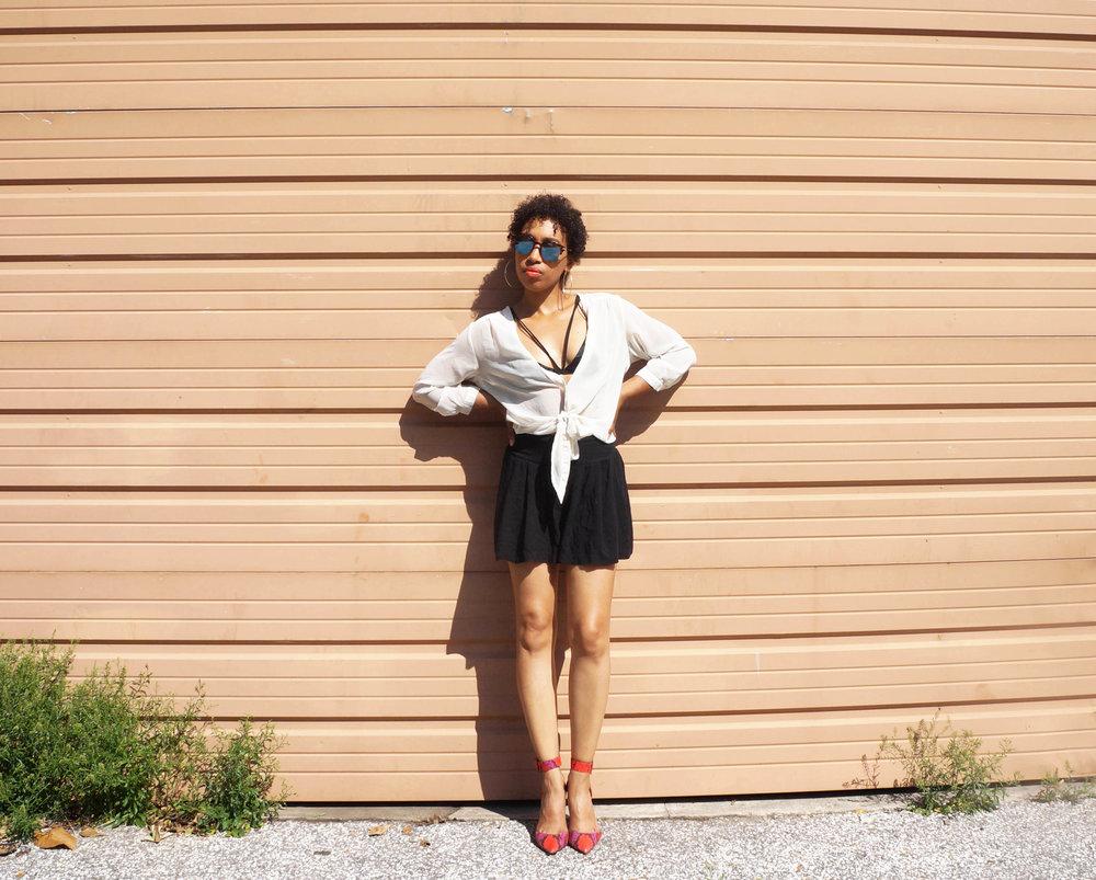 Andrea Fenise Memphis Fashion Blogger styles a bralette
