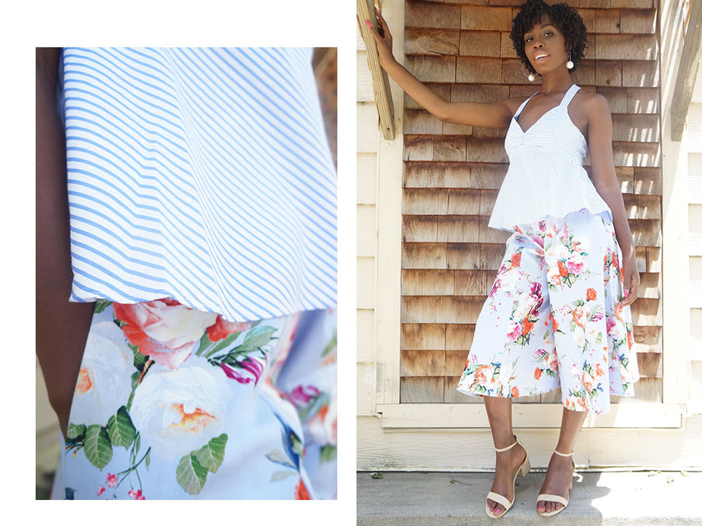 Andrea Fenise Memphis Fashion Blogger shares floral culotte style story