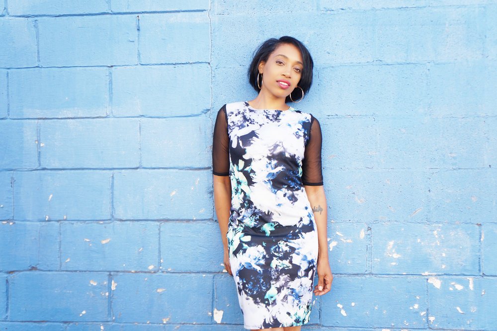 Andrea Fenise Memphis Fashion Blogger shares a blue and black floral mesh bodycon dress