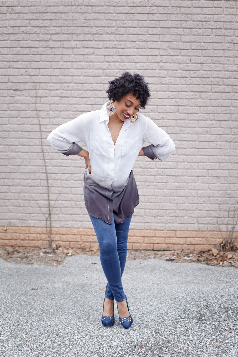 Andrea Fenise Memphis Fashion Blogger shares outfit post with Ombre Top and Denim