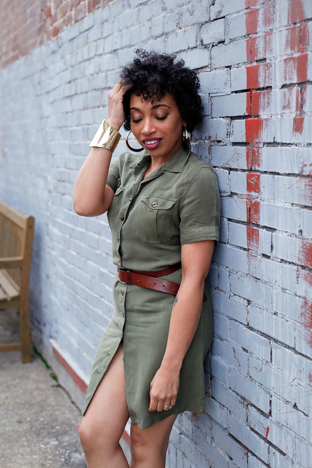 Andrea Fenise Memphis Fashion Blogger shares the Turn Your Room into An Outfit Series with a green shirt dress