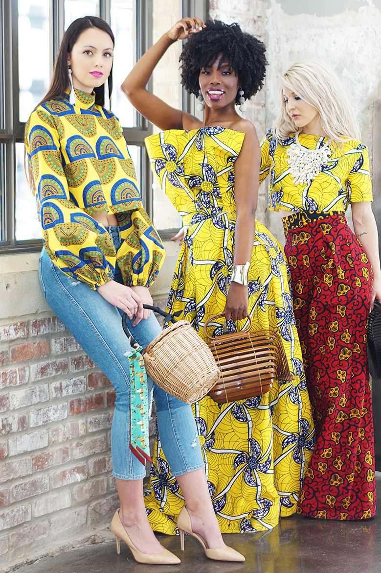from left on Grace ;   Tanganika     by Tangie   top;   Style Junkie   earrings;   Cheryl Pesce   wicker bag;  middle on Asia ; T anganika   by Tangie  dress;  Style Junkie  earrings + bracelet;  Cheryl Pesce  bamboo bag;  right on Jennifer   Tanganika   by Tangie  top + pants  Cheryl Pesce  necklace + bag