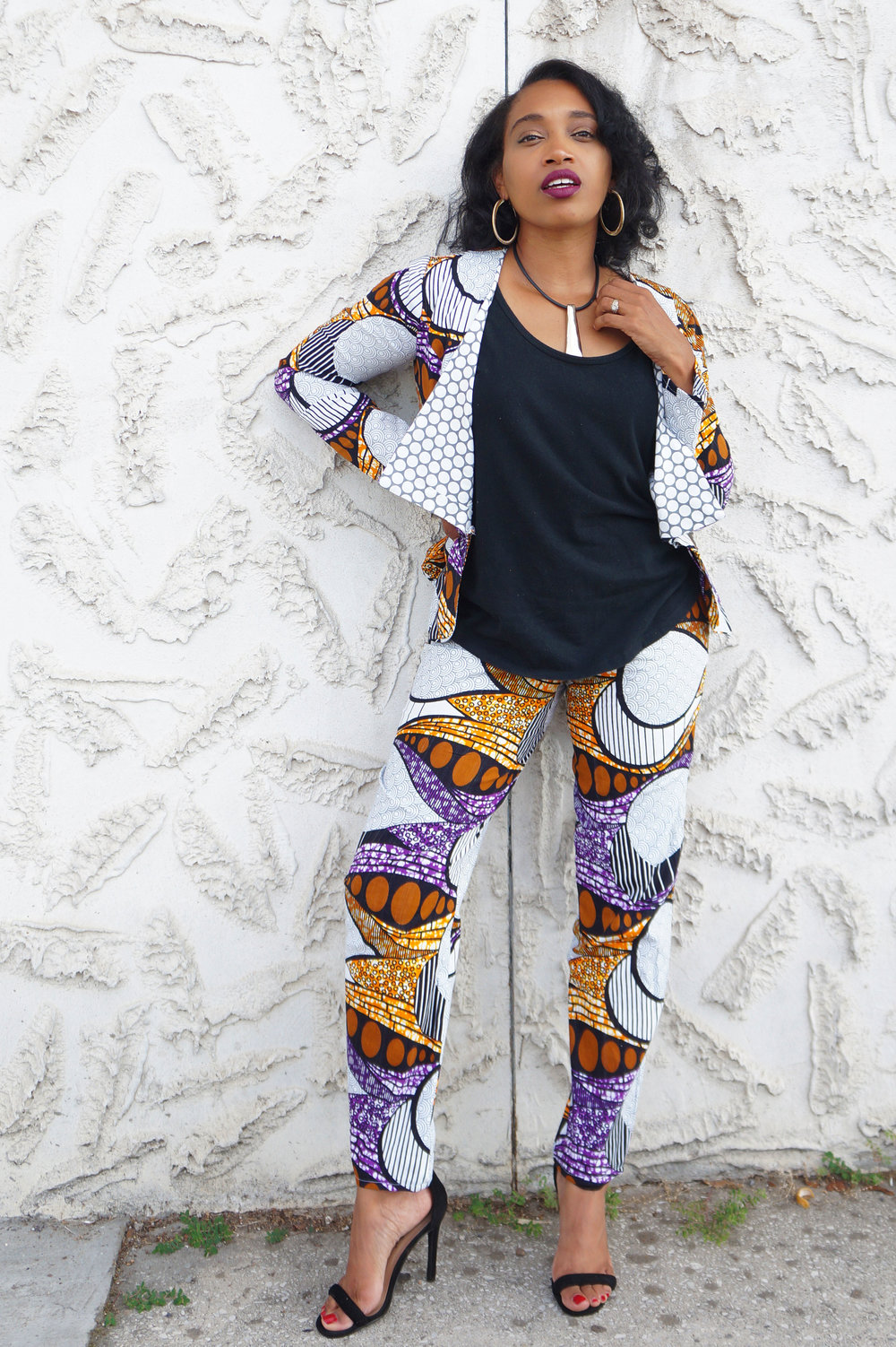 Andrea Fenise Memphis Fashion Blogger shares outfit of the day in an African Print Pantsuit and Blazer Memphis Fashion Bloggers