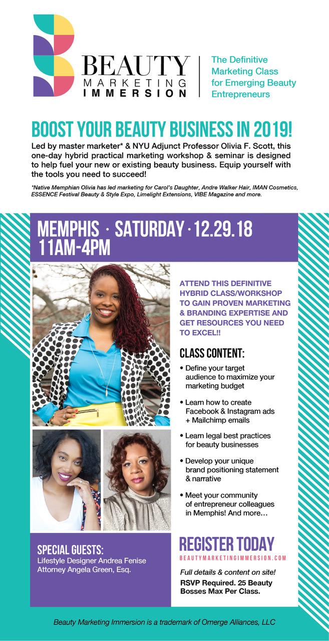 Andrea Fenise Memphis Fashion Blogger shares Beauty Marketing Immersion Marketing Class for Beauty Entrepreneurs