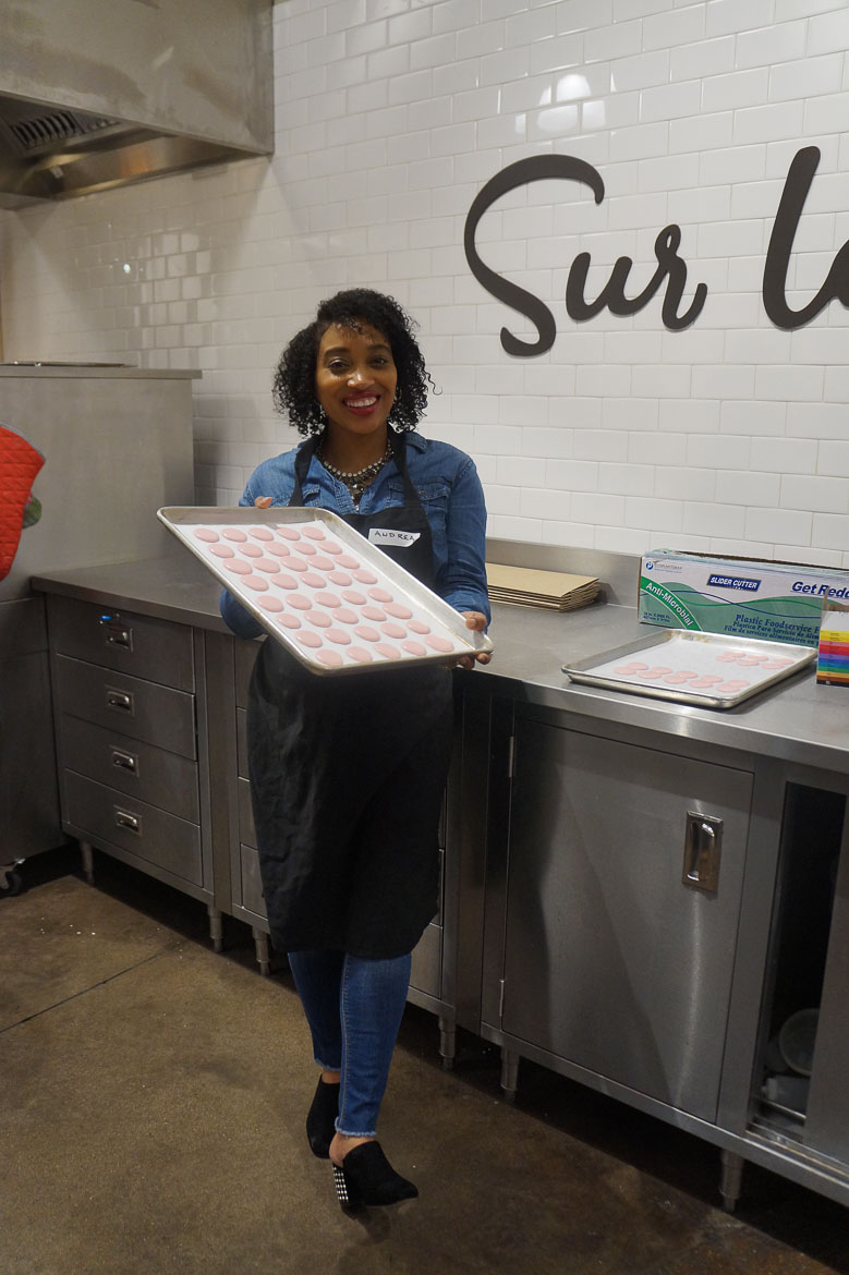 Andrea Fenise Memphis Fashion Blogger shares a story of making macaroons at Sur La Table