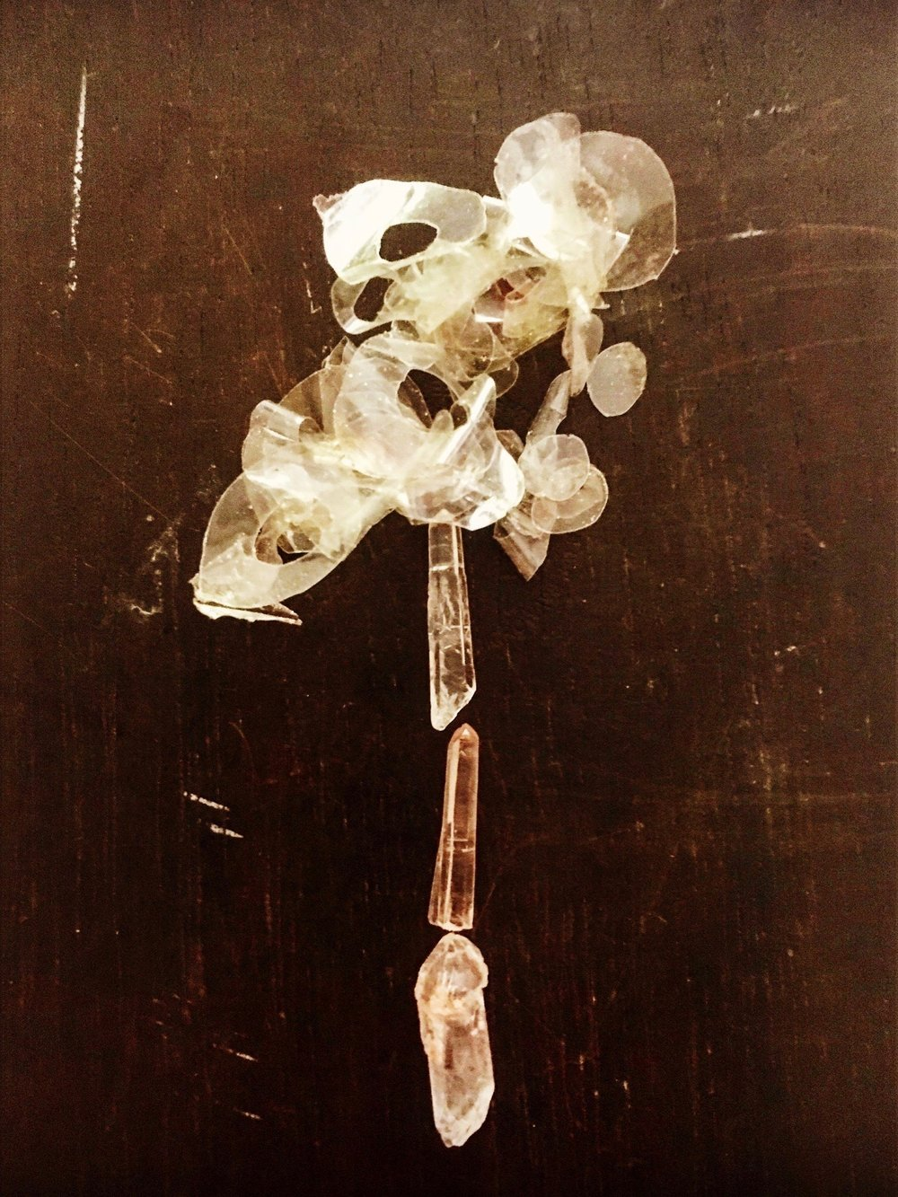 44    Bouquet Still Life   Scotch Tape  Quartz Crystal  Wood.jpg