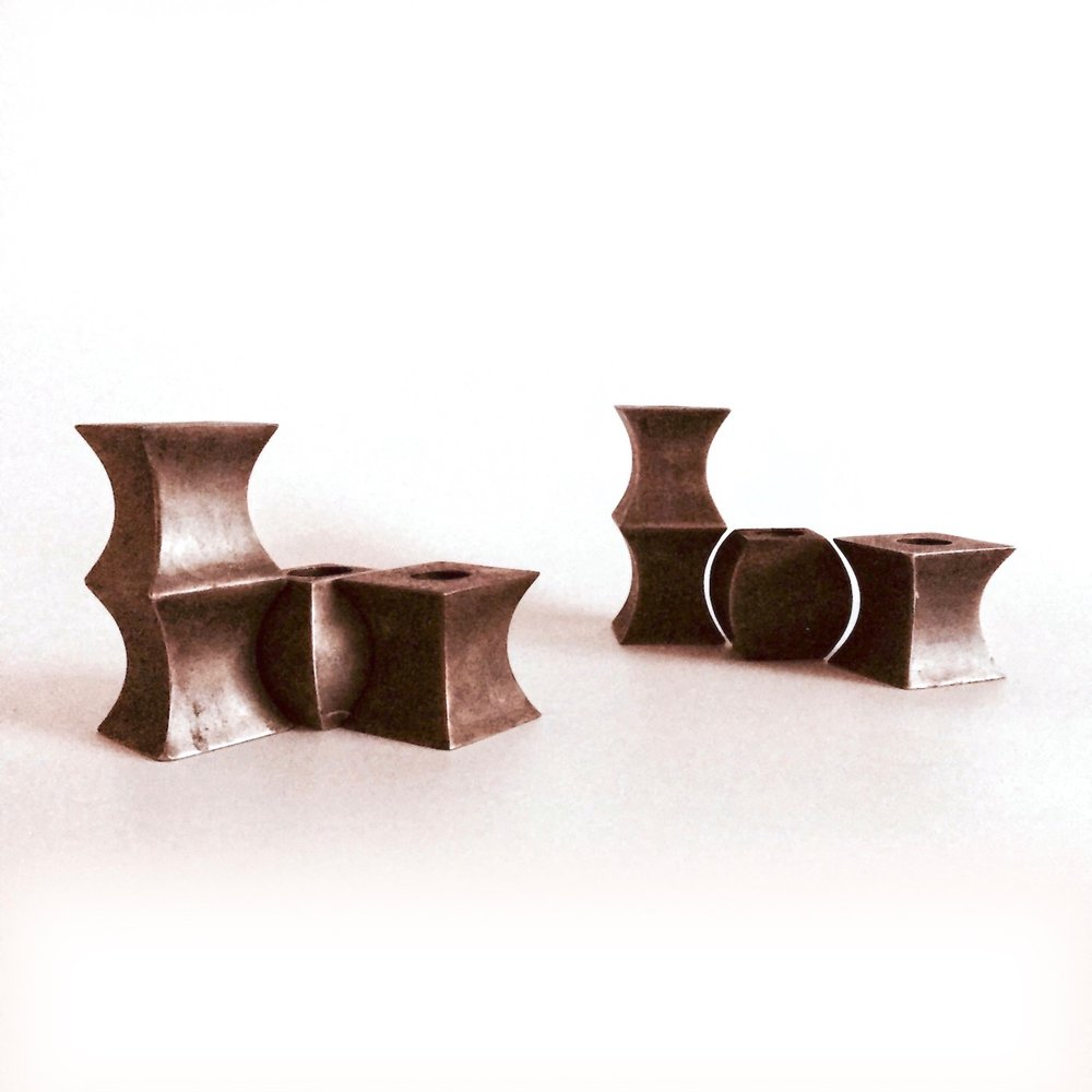 Flexus Candlesticks - Steel/Patinaed