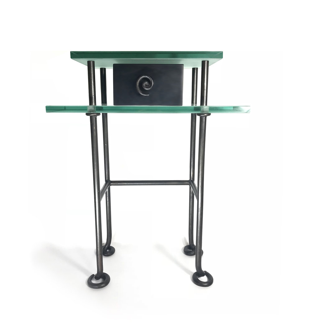 6   Night Stand  Forged Steel : Enameled Wood : Sandblasted Glass  1990.jpg