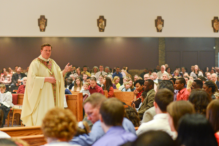 Fr.  Mark Bialek, Pastor, delivers the Easter Sunday homily.