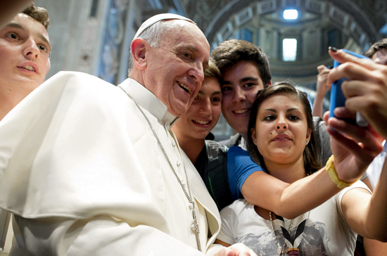 Pope Francis meets youth in Saint Peter's Basilica, August 2013