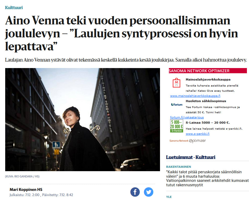 Amazing singer-songwriter Aino Venna wore KATIVEE's headband in Helsingin Sanomat. She was interviewed about the music an her new Christmas album. Definitely have to listen to it!
