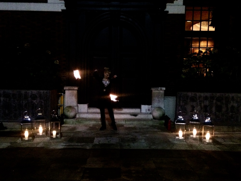 Fire dancer greets us as we enter Skinner's Hall