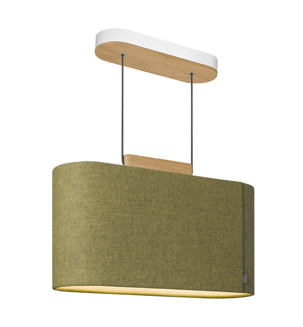 Mustard colored Belmont overhead light displaying oak hanging block.
