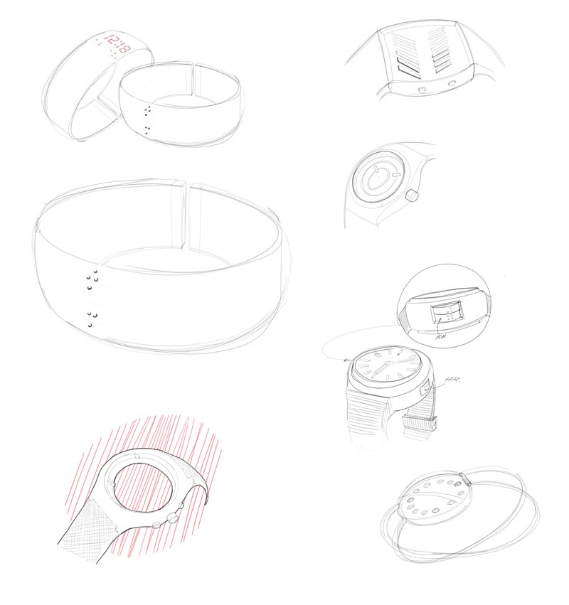 Early process sketches of possible tactile watch designs and arrangements.