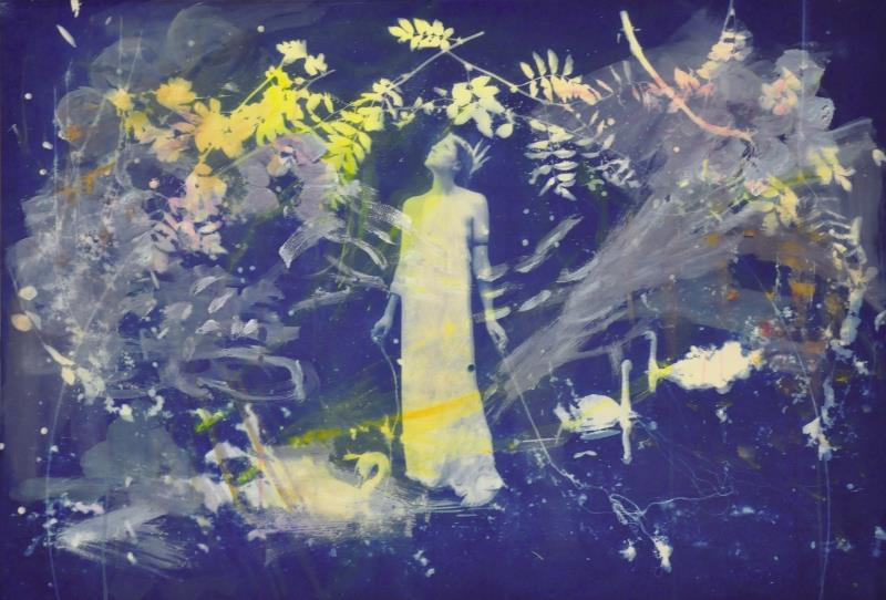 "Artist: Rosie Emerson Title: ""I Have Fallen A Long Way. Clouds Are Flowering"" Media: Cyanotype with acrylic paint on paper Dims: 43"" x 30"" / 108 x 75 cm Unique Year: 2014"