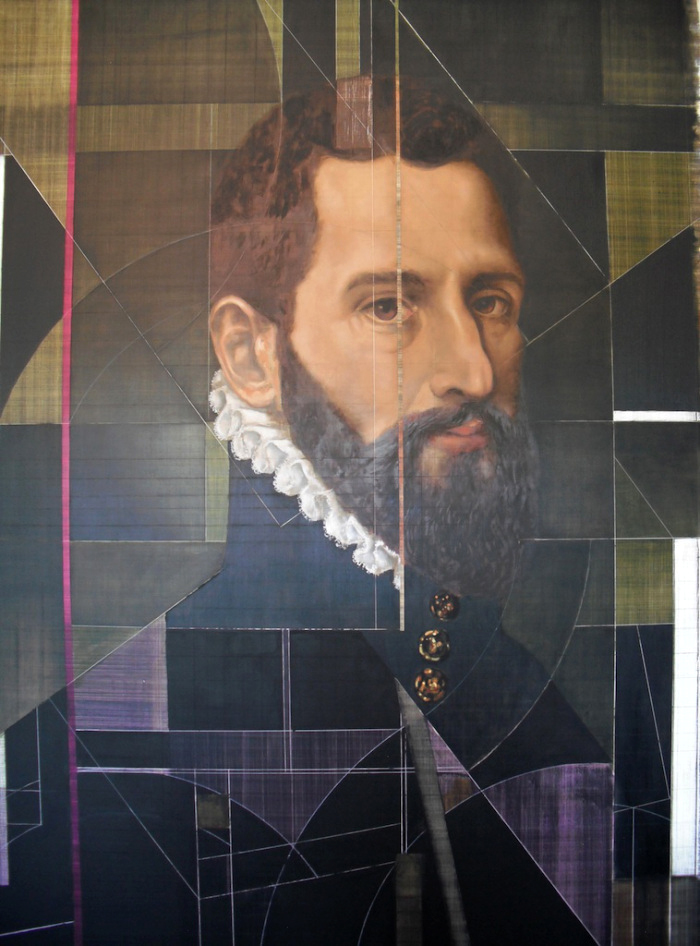 Portrait of a Gentleman 1560s  - oil & acrylic on galvanized, heavy-gauge coated aluminum 60 x 40 inches / 152 x 102 cm - SOLD