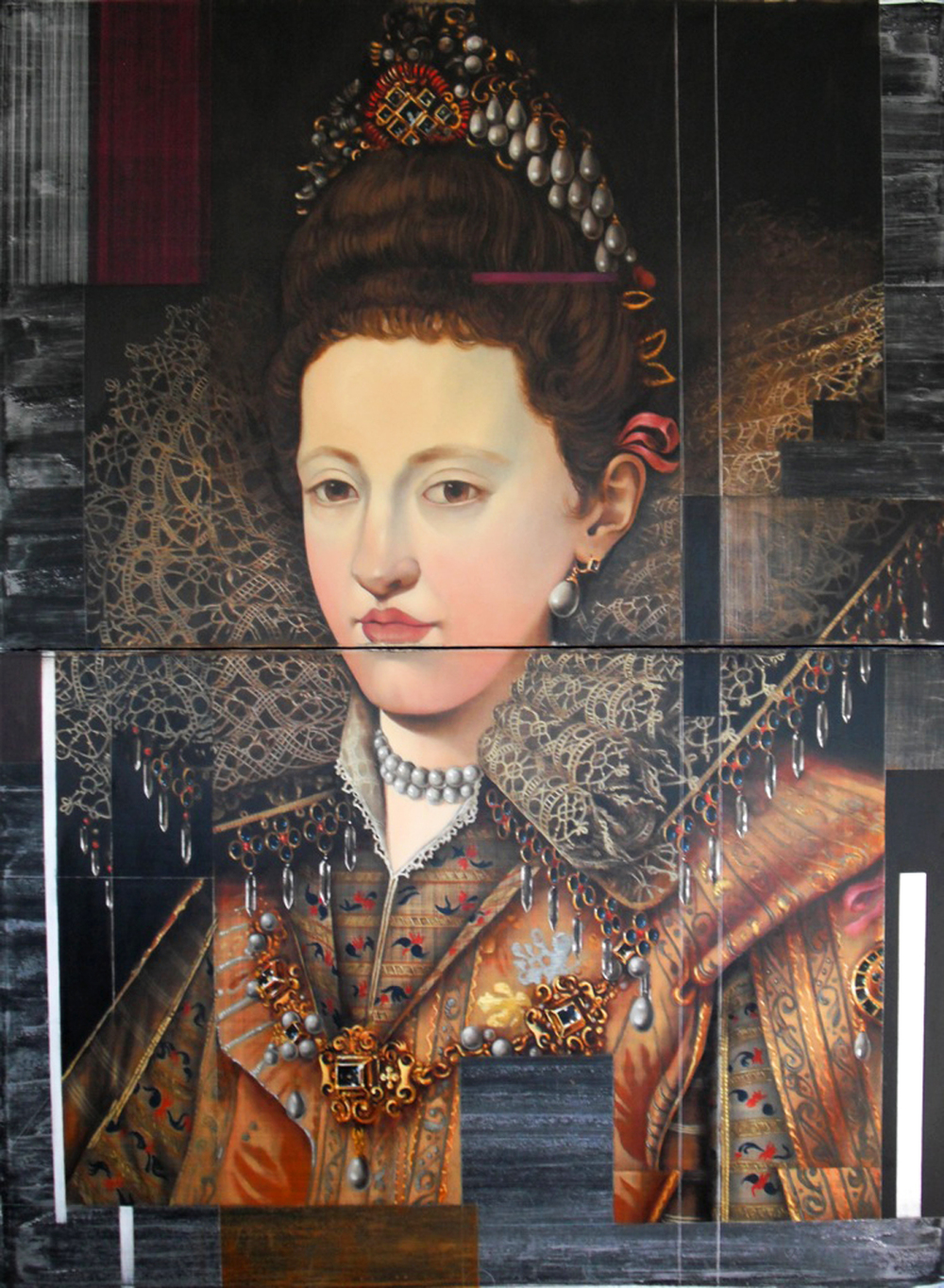 Maria Gonzaga of Lorraine  - oil & acrylic on galvanized, heavy-gauge coated aluminum 80 x 60 inches / 203 x 152 cm