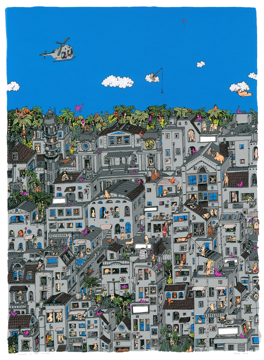 """Fishing in the Clouds, Pink Flying Chicken""  - 2014 - 5 layer hand made serigraph, hand-colored with Letraset markers and mixed media, on 270gsm. Colorset white paper Unique edition of 10  - 20 x 14 inches / 50 x 35 cm"