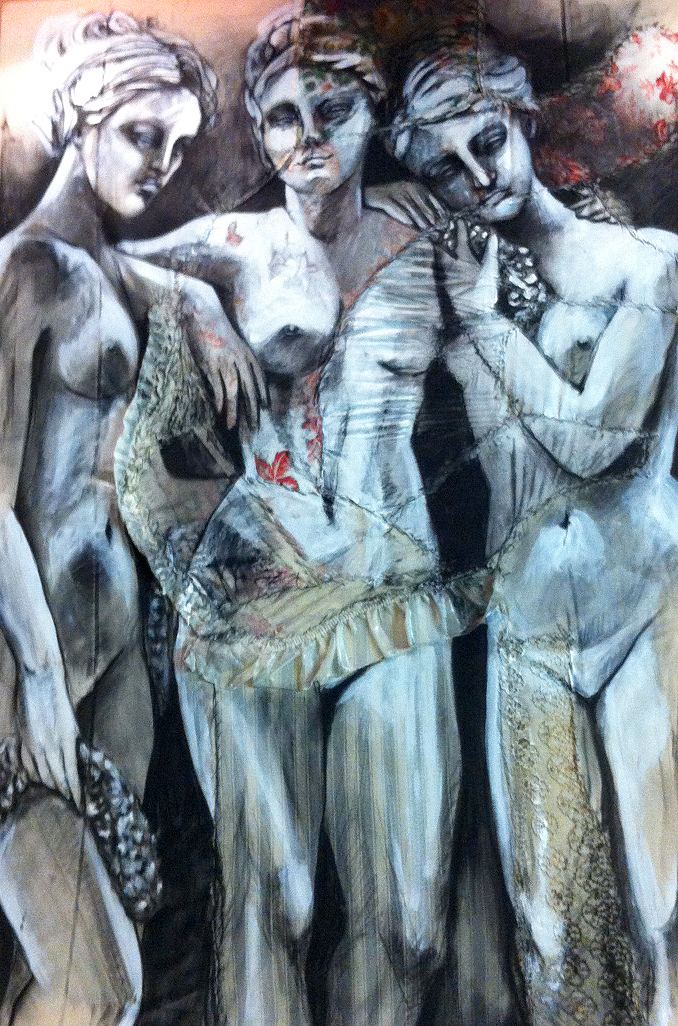 "Les Trois Graces (The Three Graces)    - Fabric, sheets, stitching, charcoal, mixed media on canvas  -   32"" x 47"" / 80 x 120 cm                    SOLD           Normal   0           false   false   false     EN-US   JA   X-NONE                                                                                                                                                                                                                                                                                                                                                                             /* Style Definitions */  table.MsoNormalTable 	{mso-style-name:""Table Normal""; 	mso-tstyle-rowband-size:0; 	mso-tstyle-colband-size:0; 	mso-style-noshow:yes; 	mso-style-priority:99; 	mso-style-parent:""""; 	mso-padding-alt:0cm 5.4pt 0cm 5.4pt; 	mso-para-margin:0cm; 	mso-para-margin-bottom:.0001pt; 	mso-pagination:widow-orphan; 	font-size:12.0pt; 	font-family:""Cambria"",""serif""; 	mso-ascii-font-family:Cambria; 	mso-ascii-theme-font:minor-latin; 	mso-hansi-font-family:Cambria; 	mso-hansi-theme-font:minor-latin; 	mso-ansi-language:EN-US; 	mso-fareast-language:EN-US;}             Normal   0           false   false   false     EN-US   JA   X-NONE                                                                                                                                                                                                                                                                                                                                                                             /* Style Definitions */  table.MsoNormalTable 	{mso-style-name:""Table Normal""; 	mso-tstyle-rowband-size:0; 	mso-tstyle-colband-size:0; 	mso-style-noshow:yes; 	mso-style-priority:99; 	mso-style-parent:""""; 	mso-padding-alt:0cm 5.4pt 0cm 5.4pt; 	mso-para-margin:0cm; 	mso-para-margin-bottom:.0001pt; 	mso-pagination:widow-orphan; 	font-size:12.0pt; 	font-family:""Cambria"",""serif""; 	mso-ascii-font-family:Cambria; 	mso-ascii-theme-font:minor-latin; 	mso-hansi-font-family:Cambria; 	mso-hansi-theme-font:minor-latin; 	mso-ansi-language:EN-US; 	mso-fareast-language:EN-US;}             Normal   0           false   false   false     EN-US   JA   X-NONE                                                                                                                                                                                                                                                                                                                                                                             /* Style Definitions */  table.MsoNormalTable 	{mso-style-name:""Table Normal""; 	mso-tstyle-rowband-size:0; 	mso-tstyle-colband-size:0; 	mso-style-noshow:yes; 	mso-style-priority:99; 	mso-style-parent:""""; 	mso-padding-alt:0cm 5.4pt 0cm 5.4pt; 	mso-para-margin:0cm; 	mso-para-margin-bottom:.0001pt; 	mso-pagination:widow-orphan; 	font-size:12.0pt; 	font-family:""Cambria"",""serif""; 	mso-ascii-font-family:Cambria; 	mso-ascii-theme-font:minor-latin; 	mso-hansi-font-family:Cambria; 	mso-hansi-theme-font:minor-latin; 	mso-ansi-language:EN-US; 	mso-fareast-language:EN-US;}"