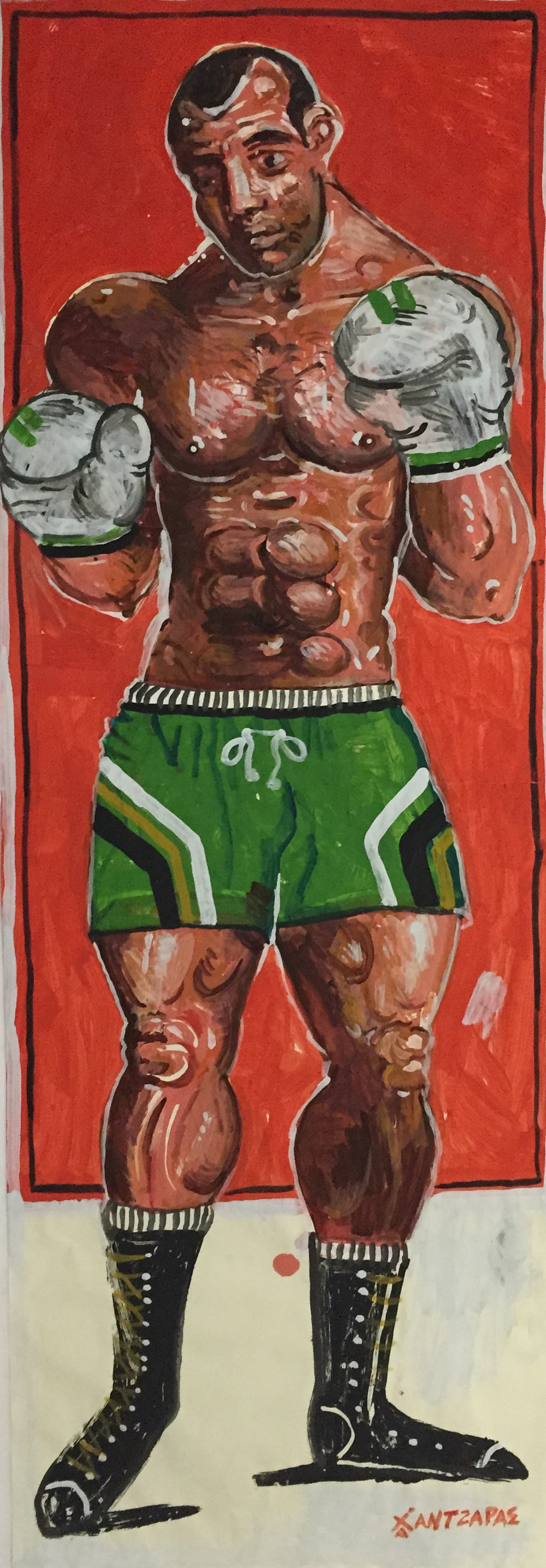 "Boxer #3 Acrylic on paper Approx size of artwork: 28"" x 79"" / 70 x 200 cm"
