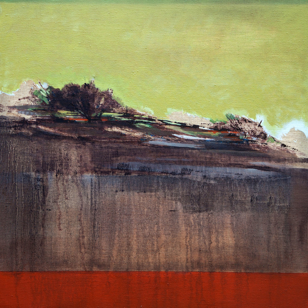Cascading Landscape  - Oil and mixed media on linen – 31 x 31 inches / 80 x 80 cm