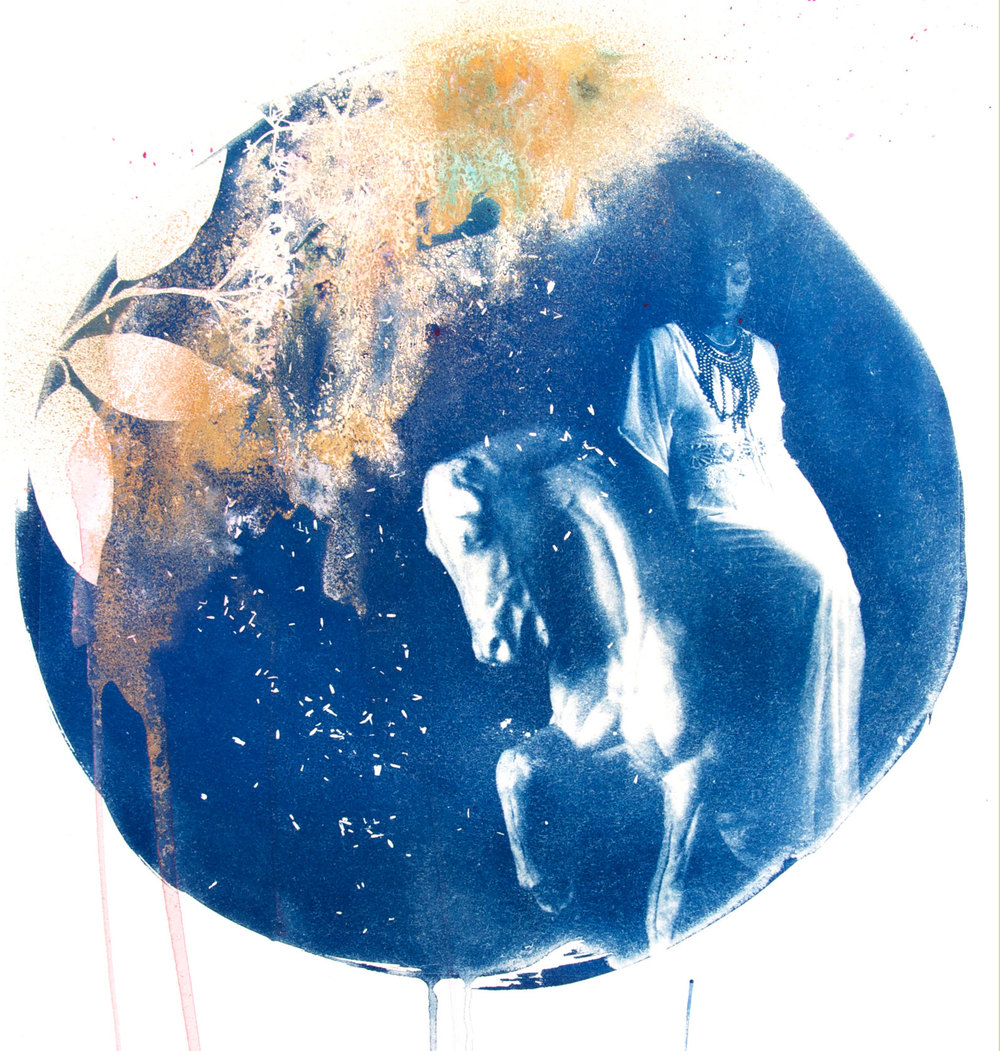 Arion  - 2015 - Original hand painted Cyanotype on Somerset Satin 300 gram printmaking paper, bespoke circular white frame with convex dome Artwork: 30 inches / 70 cm diameter