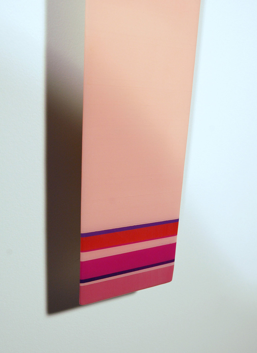 "Leaner L6  - Acrylic, Cherry, select pine, and UV resin - Dim: 82"" x 4.5"" x 2"" / 208 x 11 x 6 cm - DETAIL"