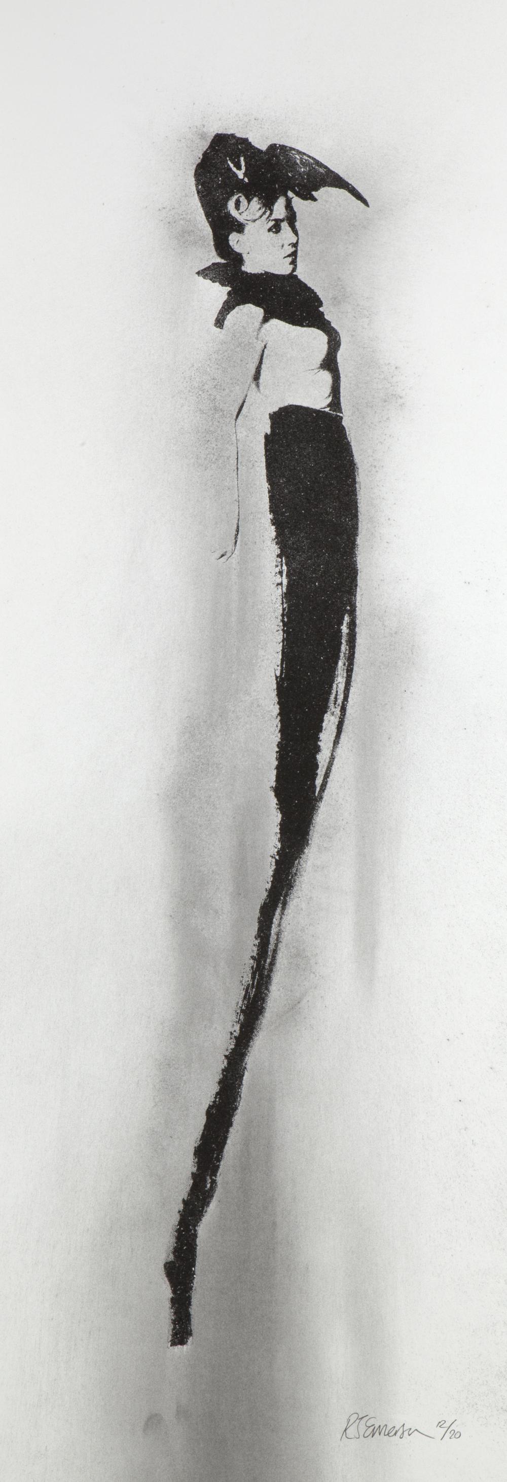 Shrine # 3 Rosie – Ed. 20  Screenprint with charcoal powder on paper Artwork: 90 x 35 cm 2013