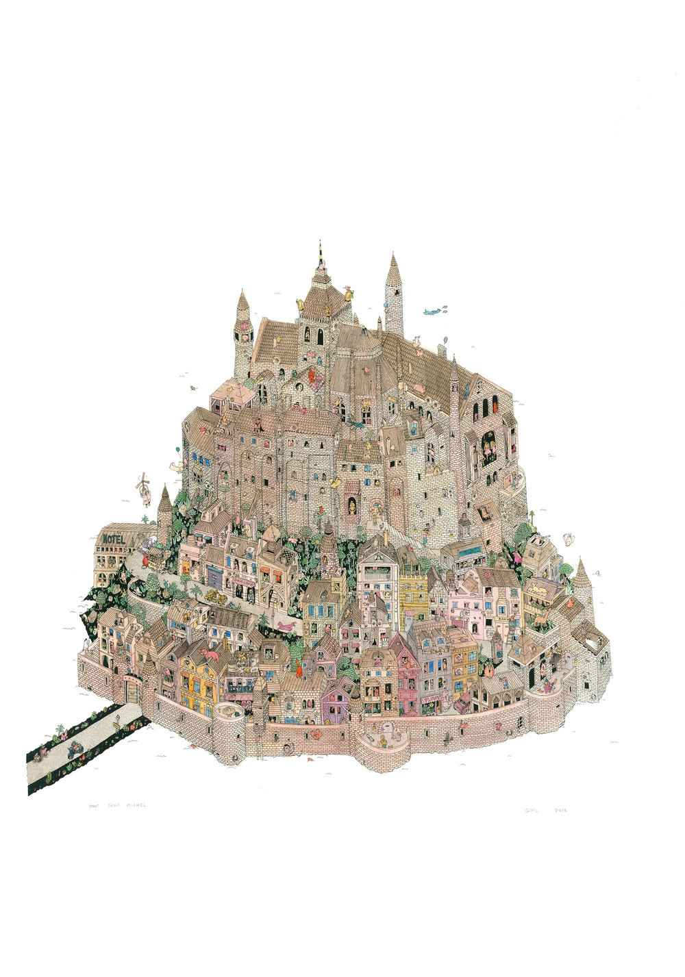Mont-Saint Michel - Lighter   Hand made serigraph print, hand-colored with watercolour & mixed media, on 350gsm Colorset white paper.- 84h x 69w cm - Unique edition of 10