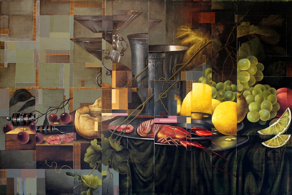 Restructured Still Life with Lemons and Crayfish    - 2015 - Oil on black galvanized metal - 40x60 in. / 102x152 cm.