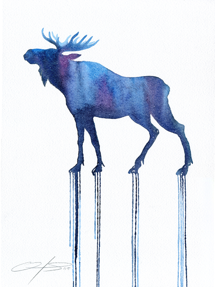 The Constelation Moose  - 2016, watercolour on paper, framed - 16 x 12 inches / 40 x 30cm