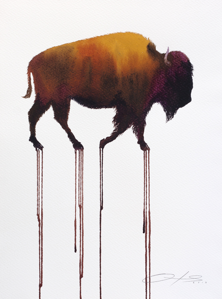 The Weary Bison - 2016, watercolour on paper, framed - 16 x 12 inches / 40 x 30cm  SOLD