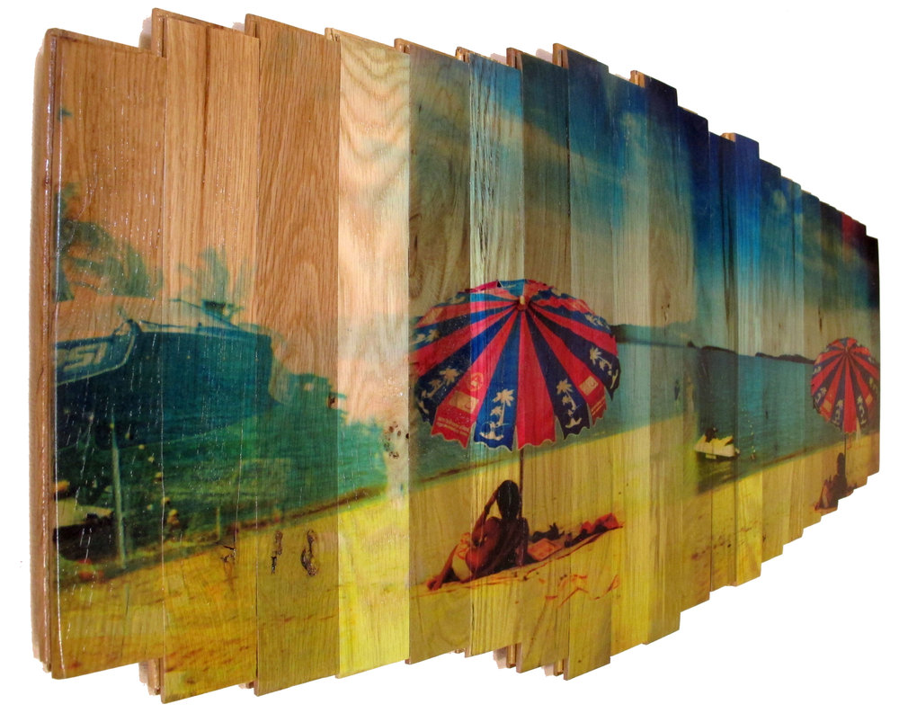 Day Dreaming,  2016 c print on reclaimed wood floor 21 x 46 x 1.5 in / 53 x 117 x 4 cm  Unique
