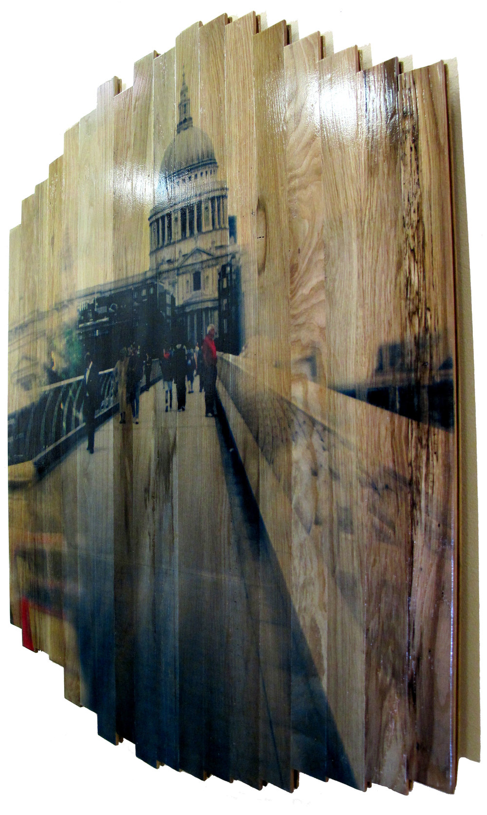 St. Paul's View,  2016 c print on reclaimed wood floor 48 x 41 x 1.5 in / 122 x 105 x 4 cm  Unique