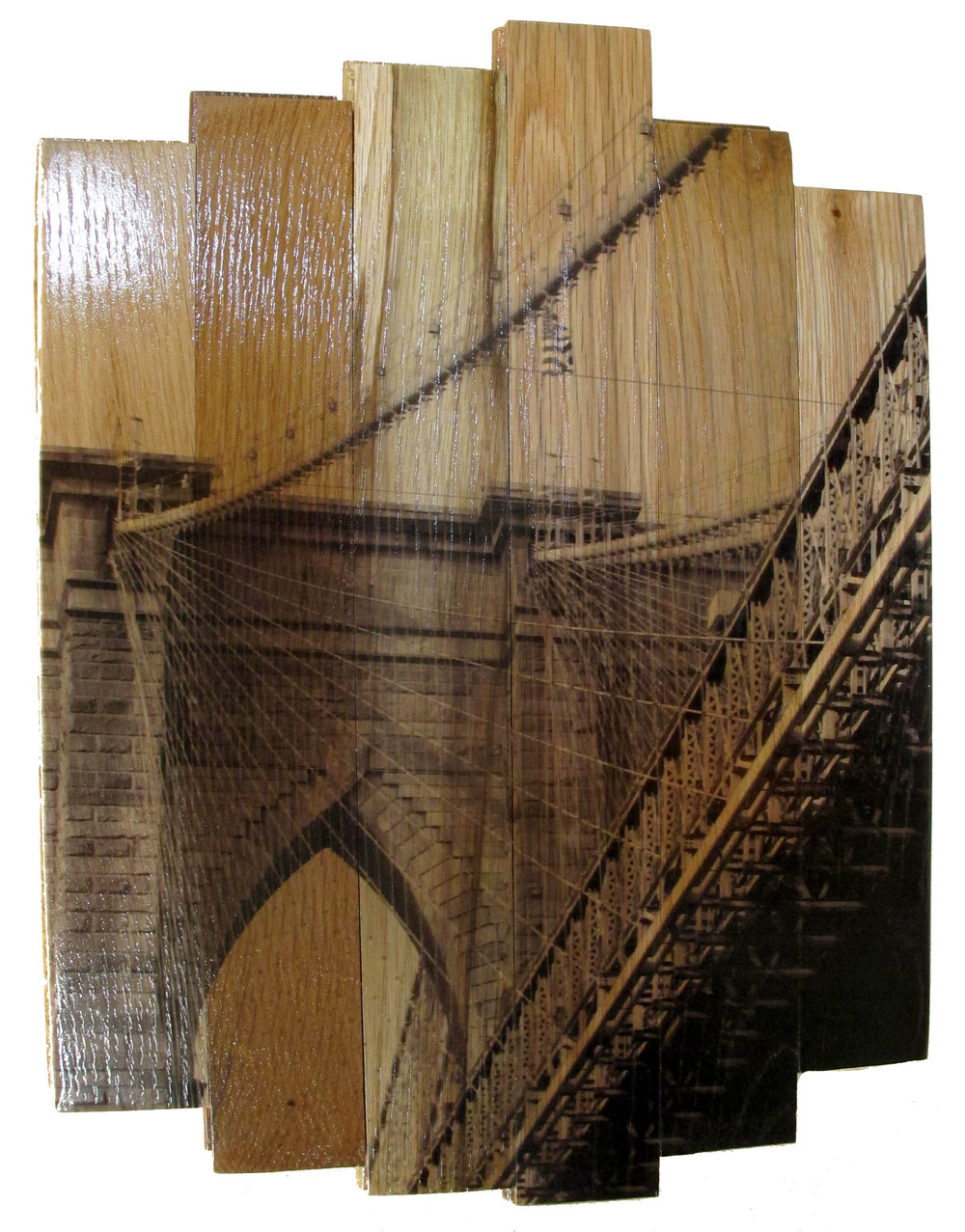 Brooklyn Bridge II,  2016 c print on reclaimed wood floor 17 x 14 x 1.5 in / 43 x 35.5 x 4 cm  Unique