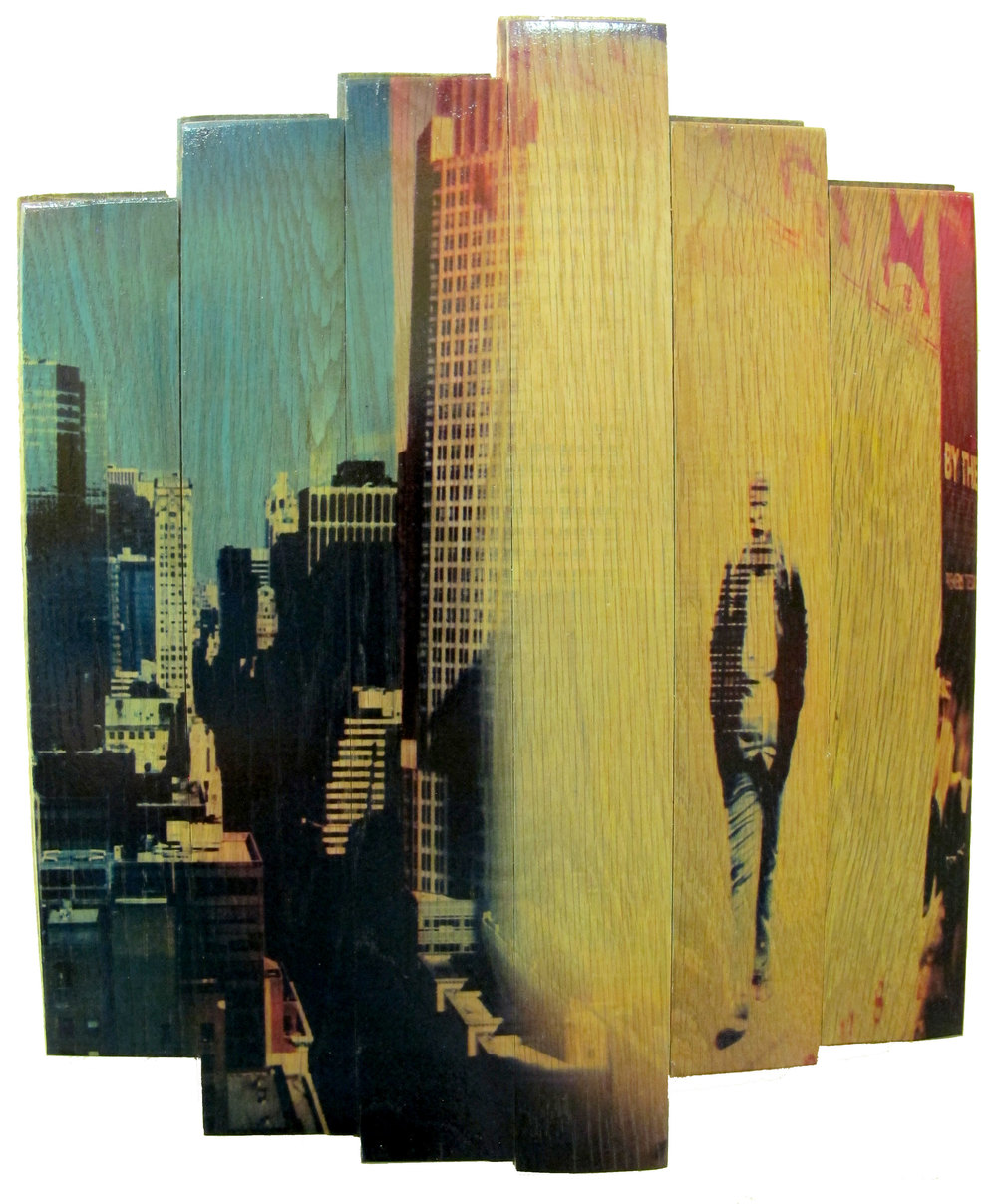 City Slicker,  2016 c print on reclaimed wood floor 17 x 14 x 1.5 in / 43 x 35.5 x 4 cm  Unique