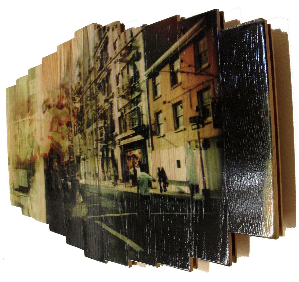 Wooster Street,  2016 c print on reclaimed wood floor 16 x 25.5 x 1.5 in / 41 x 65 x 4 cm  Unique