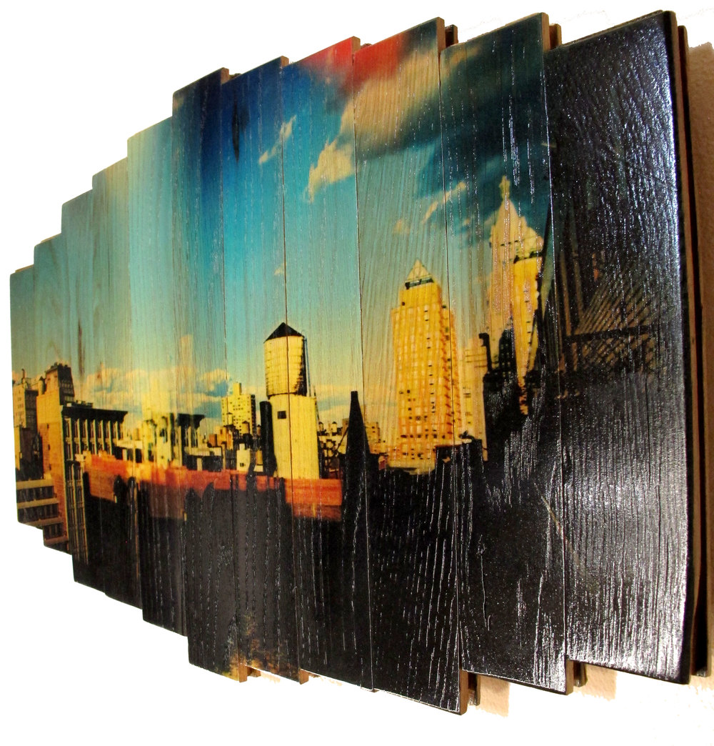 Soaring,  2016 c print on reclaimed wood floor 16 x 25.5 x 1.5 in / 41 x 65 x 4 cm  Unique