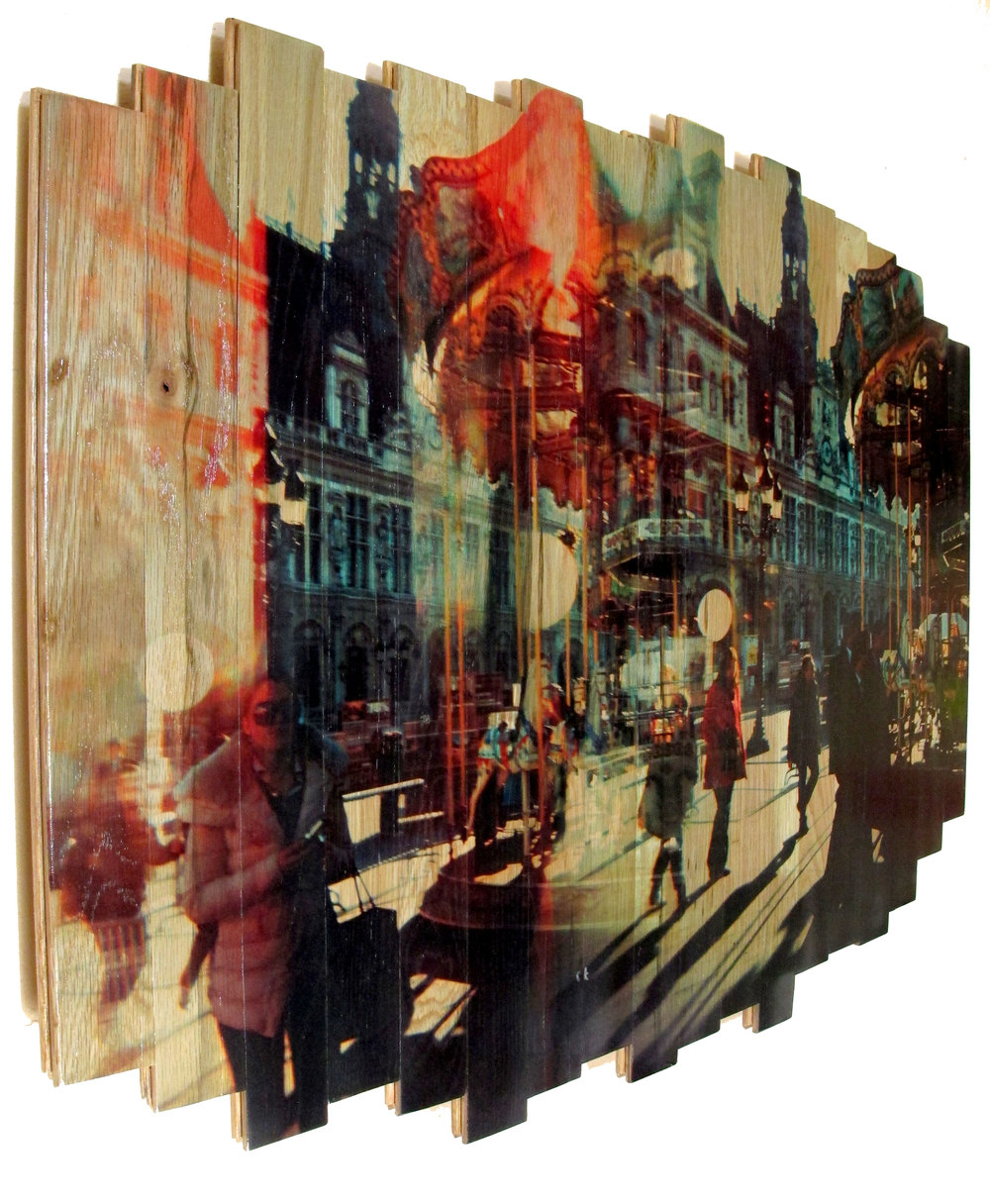 Paris Carousel I , 2016 c print on reclaimed wood floor 29.92 x 41.34 x 1.57 in / 76x105 cm  Unique