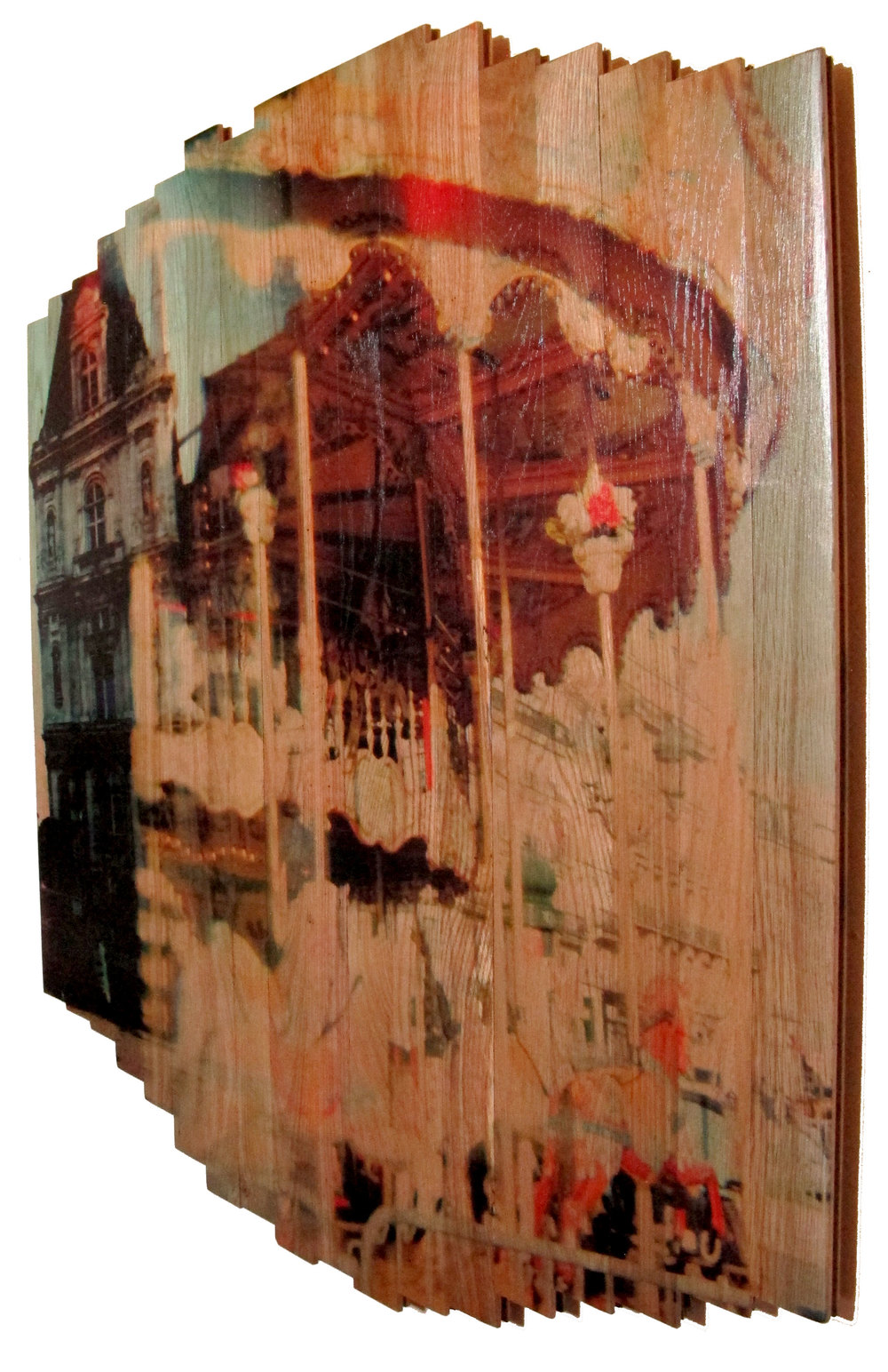 Paris Carousel II , 2016 c print on reclaimed wood floor 46 x 41 x 1.5 in / 117x105x4 cm  Unique