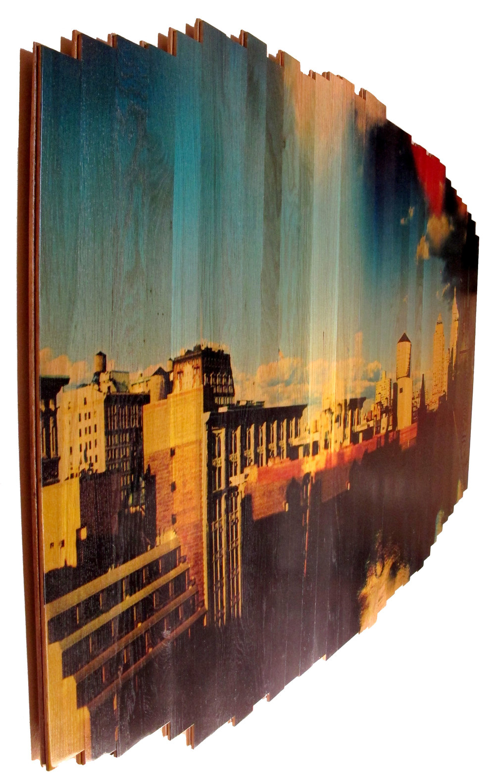 Water Tower - NY,  2016 c print on reclaimed wood floor 50 x 72 x 1.5 in / 127 x 183 x 4 cm  Sold