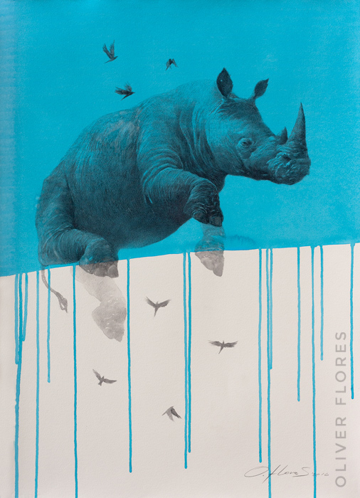 Rhino with Blue - Journey No 4  - 2016 - Charcoal and watercolour on paper - 28x20 in / 70x50 cm