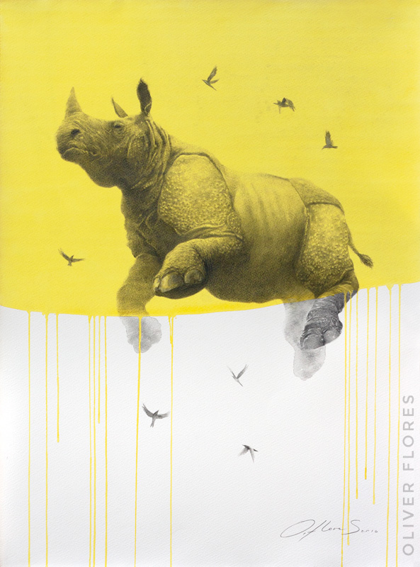 Rhino - Journey No 5  - 2016 - Charcoal and watercolour on paper - 28x20 in / 70x50 cm