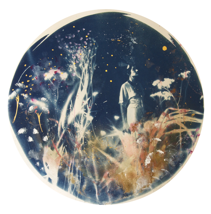 "Liberty, Artist Proof  - 2017 - Hand painted Cyanotype with gold leaf, bespoke circular white frame with dome. Diameter: 30"" / 75 cm"