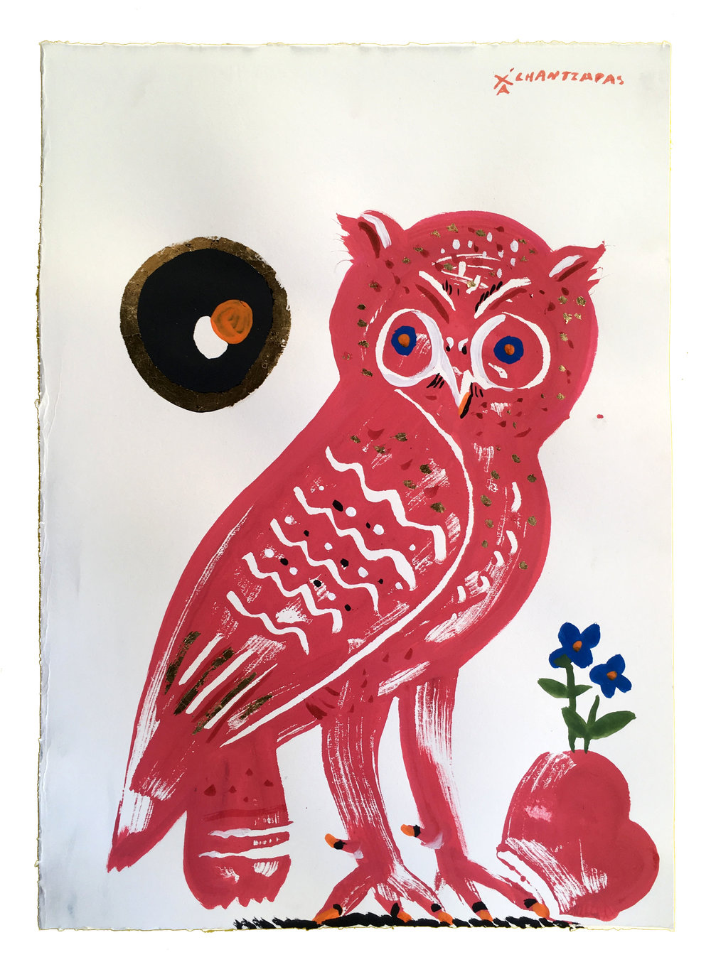 "Owl 12 - Red Eirene  Acrylic and watercolour on Fabriano paper, Unique Artwork: 30"" x 24"" / 76x 60 cm - custom white box frame"