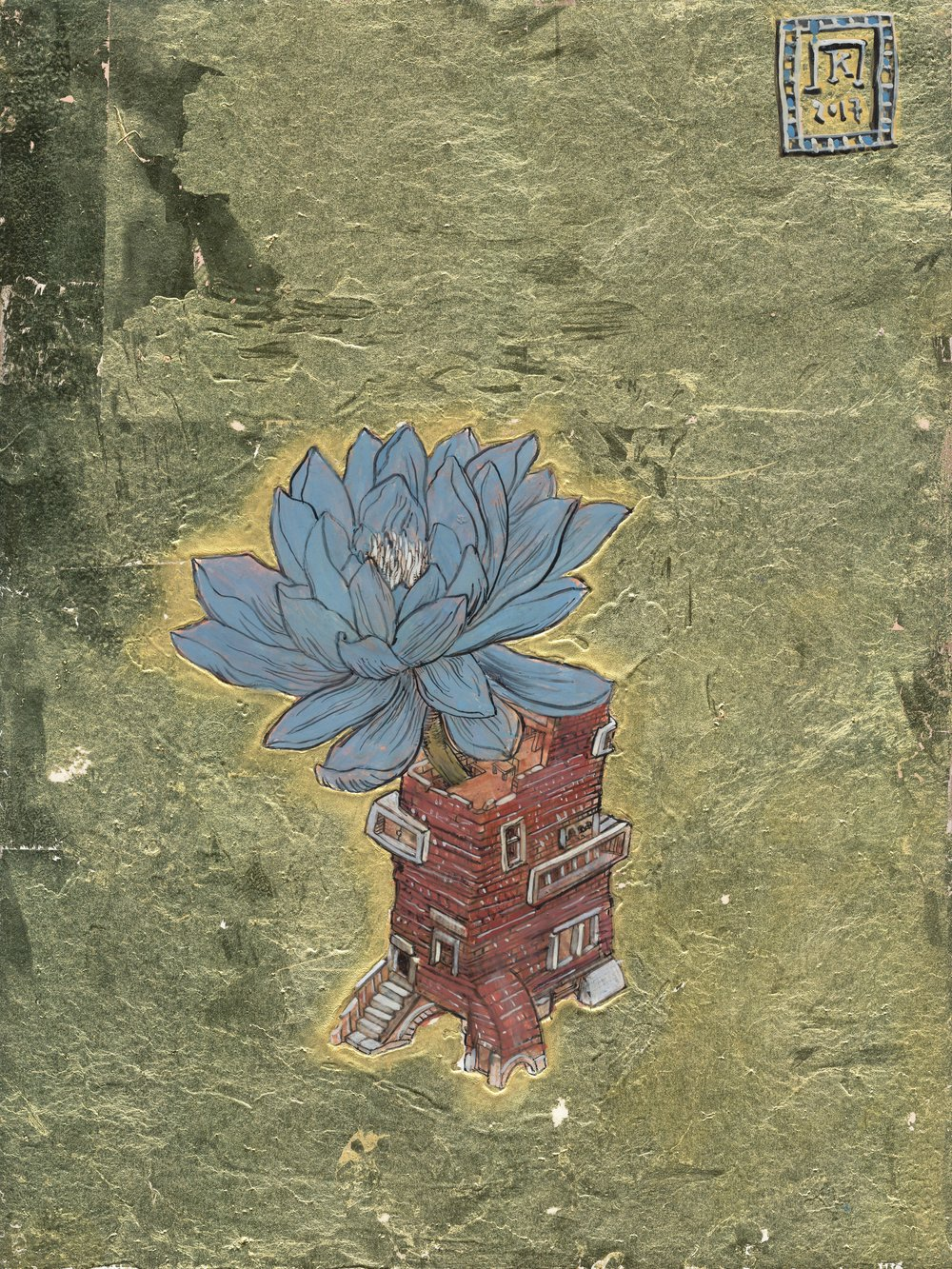 Blue Flower Red Brick Tower  - Ink, egg-tempera and gold leaf on panel - 9.5x7in / 24x18cm