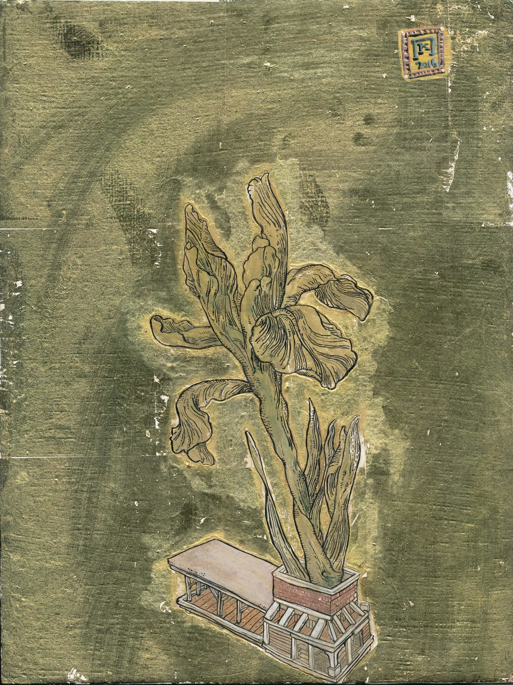 Iris Missouriensis - Ink, egg-tempera and gold leaf on panel - 9.5x7in / 24x18cm
